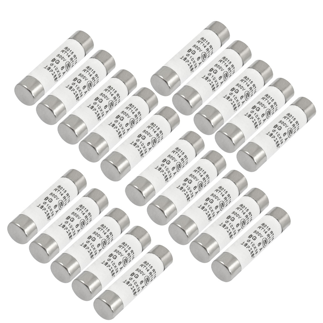 20 Pcs RO15 Series 500V 6A Cylinder Cap Ceramic Fast Blow Fuse Links 10x38mm