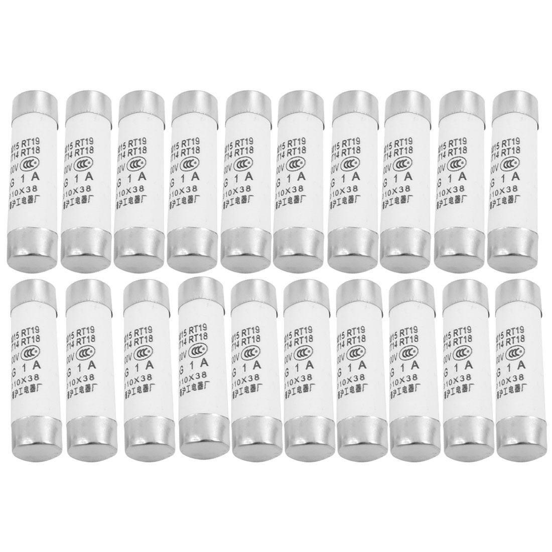 20 Pcs RO15 Series 500V 1A Cylinder Cap Ceramic Fast Blow Fuse Links 10x38mm