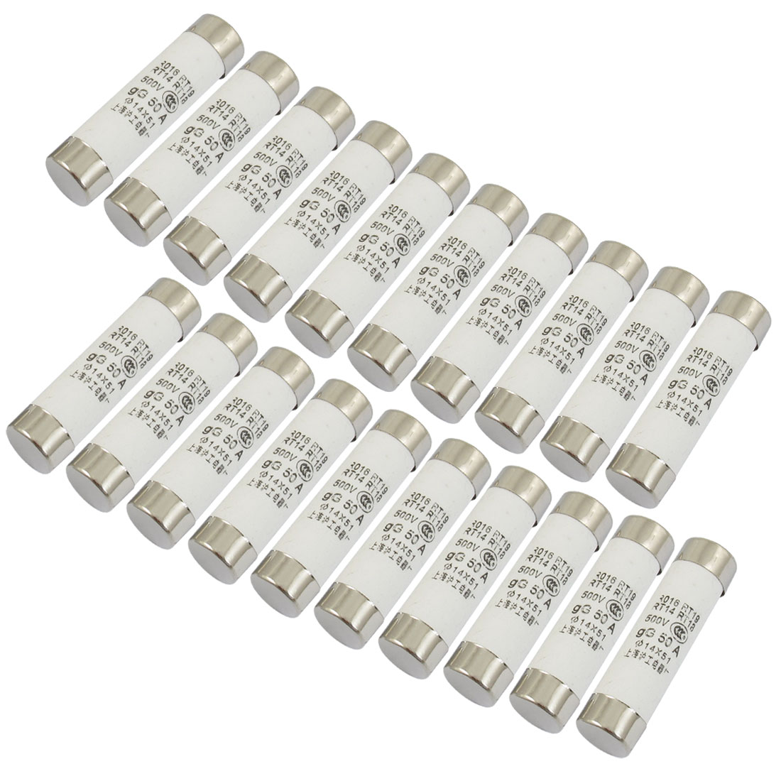 20 Pcs RO16 Series 500V 50A Cylinder Cap Ceramic Fast Blow Fuse Links 14x51mm