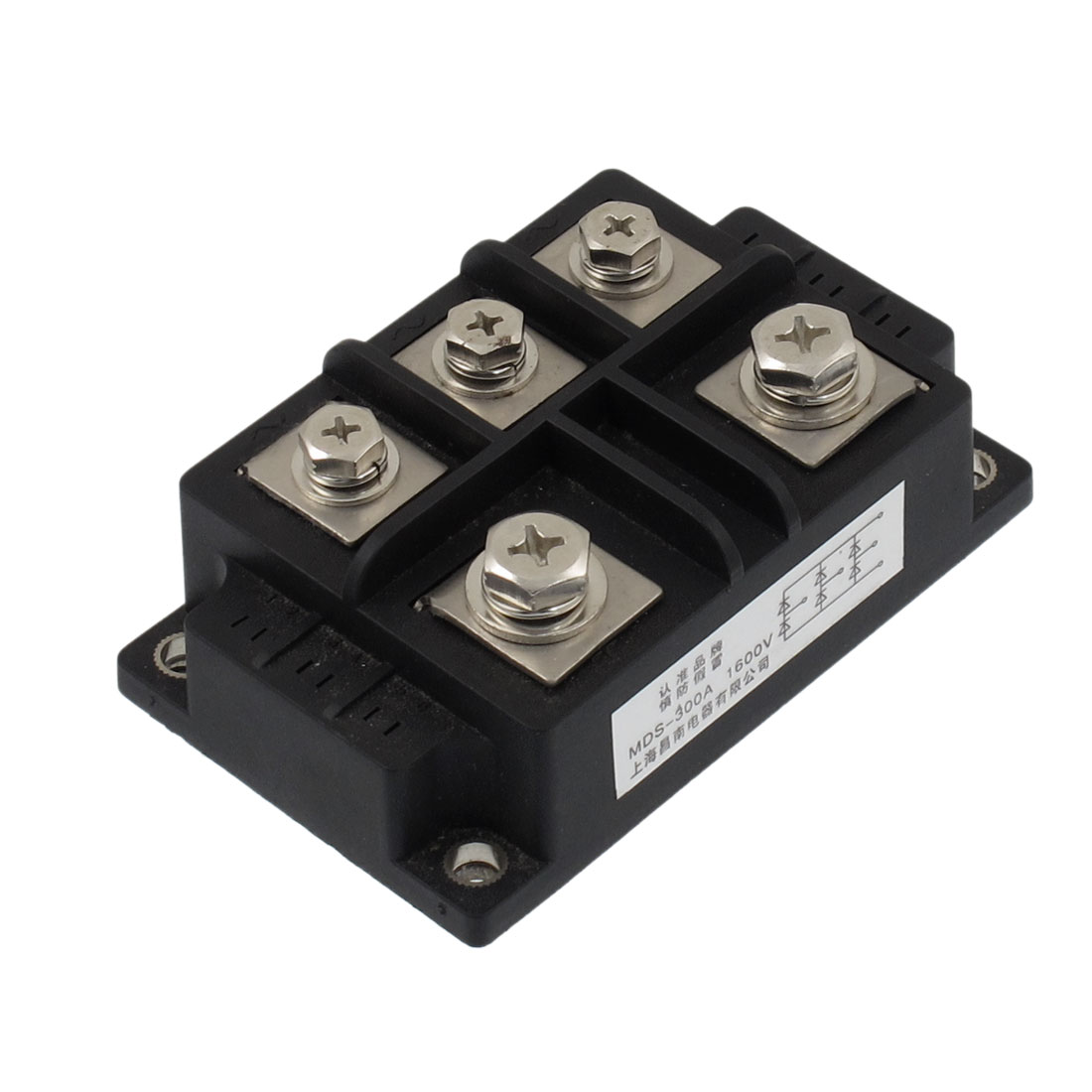 Black 5 Terminals Circuit Diode Rectifier Module Transistor Semiconductor AC 1600V 300A