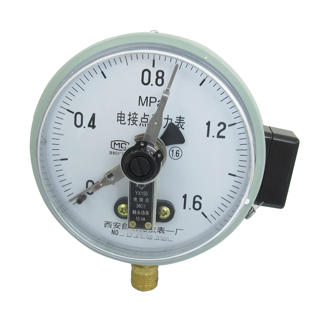 YX-150 0-1.6MPa M20 Thread Dia Electric Contact Pressure Gauge AC 380V 10VA