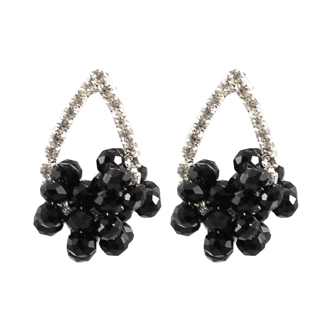 Woman Black Crystal Decor Rhinestone Surrounding Earbob Stud Earrings Gift Pair