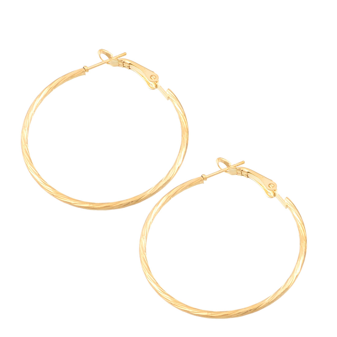 Ladies Twisted Metal Spring Hoop Earrings Present Gold Tone Pair