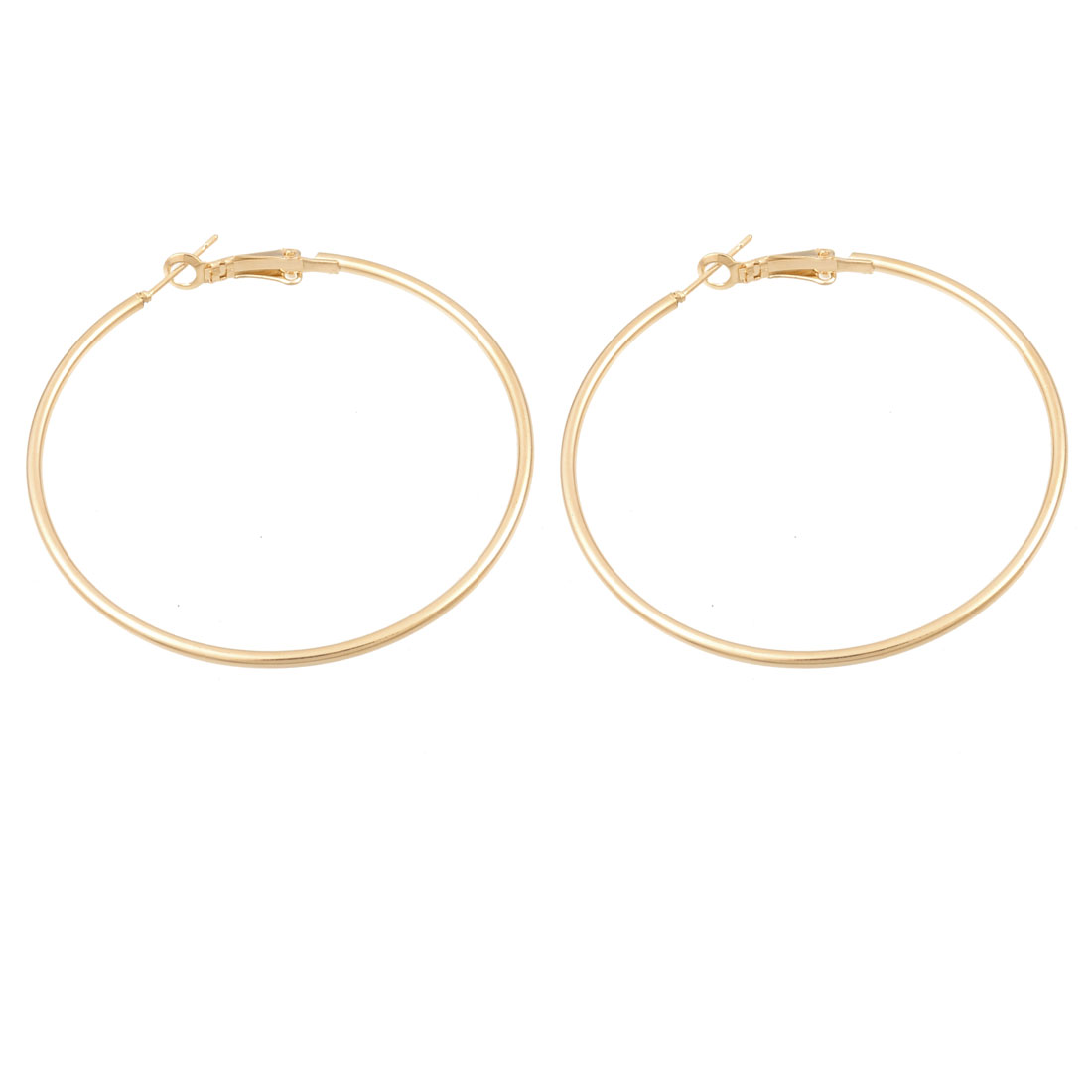 Ladies Gold Tone Metal Hoop Earrings Earbob Eardrop Pair