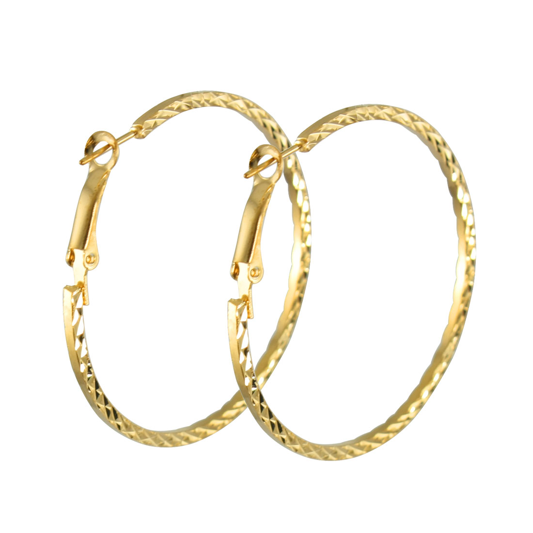 Ladies Twisted Gold Tone Metal Spring Hoop Earrings Eardrop Pair
