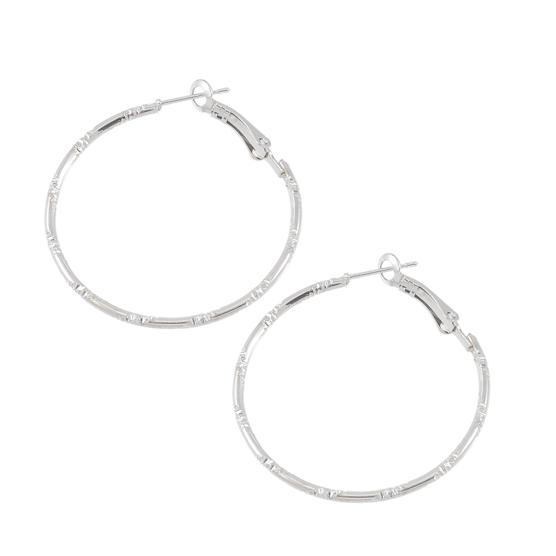 Lady Party Ornament Textured Metal Spring Hoop Earrings Silver Tone Pair