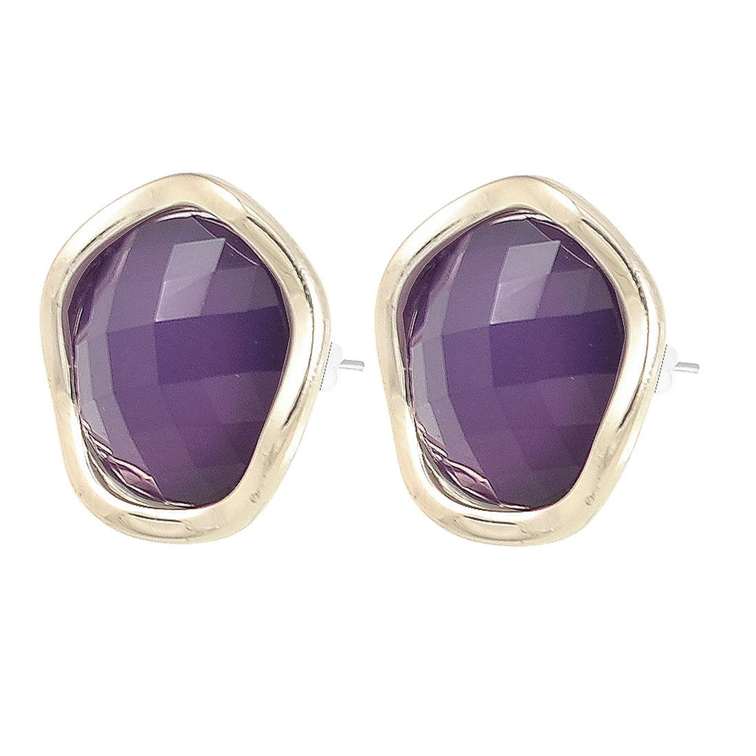 Woman Purple Crystal Inlaid Eardrop Stud Earrings Ear Pin Earbob Pair