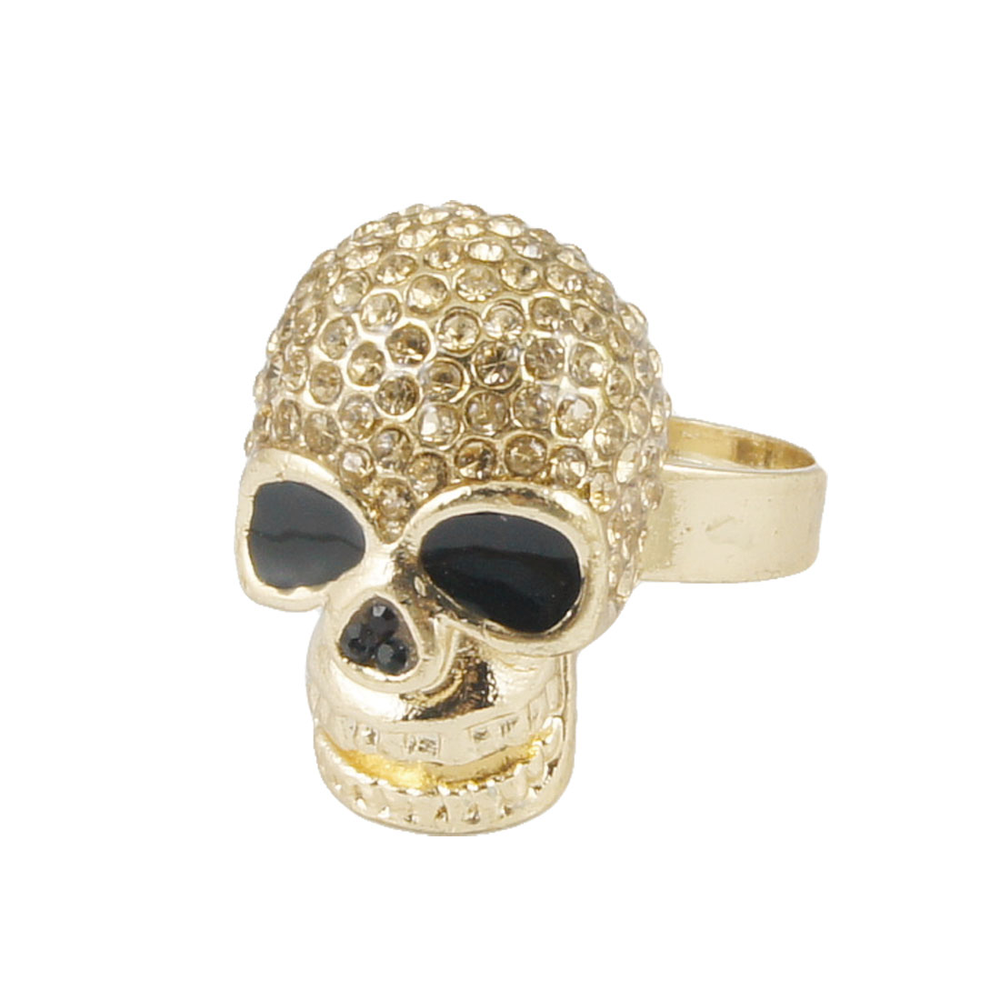 "Rhinestone Accent Skull Design 0.95"" Width Finger Ring for Woman"