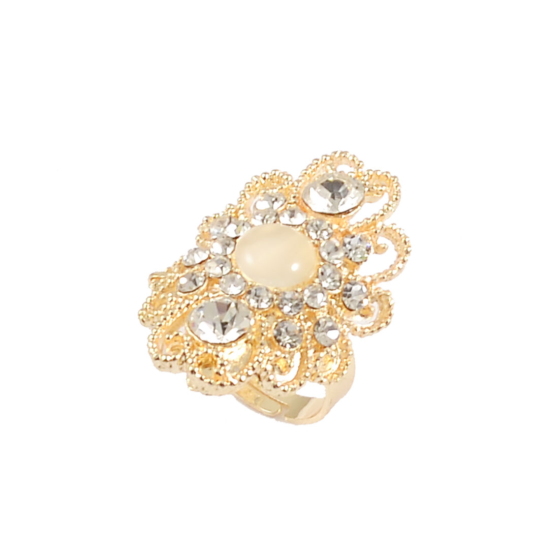 Woman Glittery Rhinestone Decor Ivory Crystal Inlaid Cluster Finger Ring