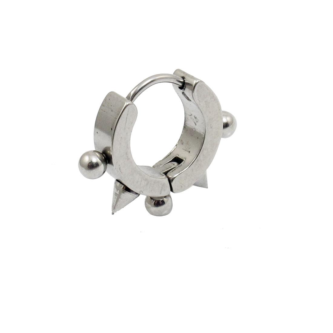 Punk Beaded Cone Shape Decor Silver Tone Punk Mini Hoop Earrings 1 pcs