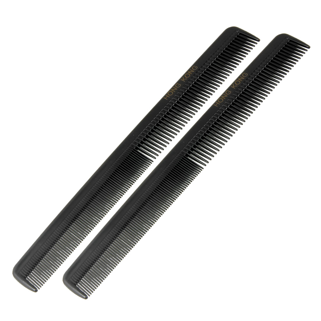 Black Plastic Double Head Narrow Fine Teeth Hair Comb Beauty Tool 2 Pcs