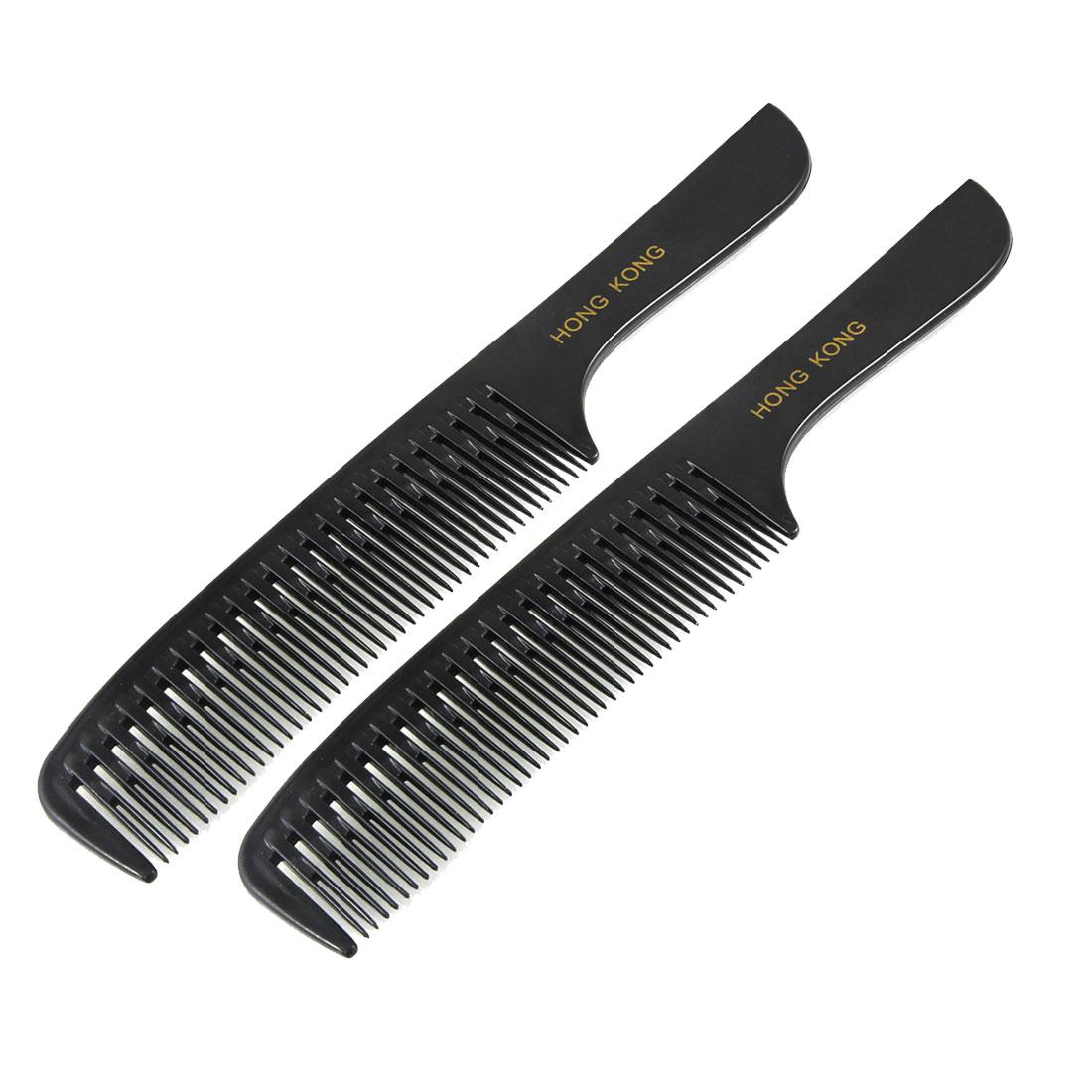 "Lady Hairstyle DIY Black Plastic Curly Hair Care Handgrip Comb 8.3"" 2 Pcs"