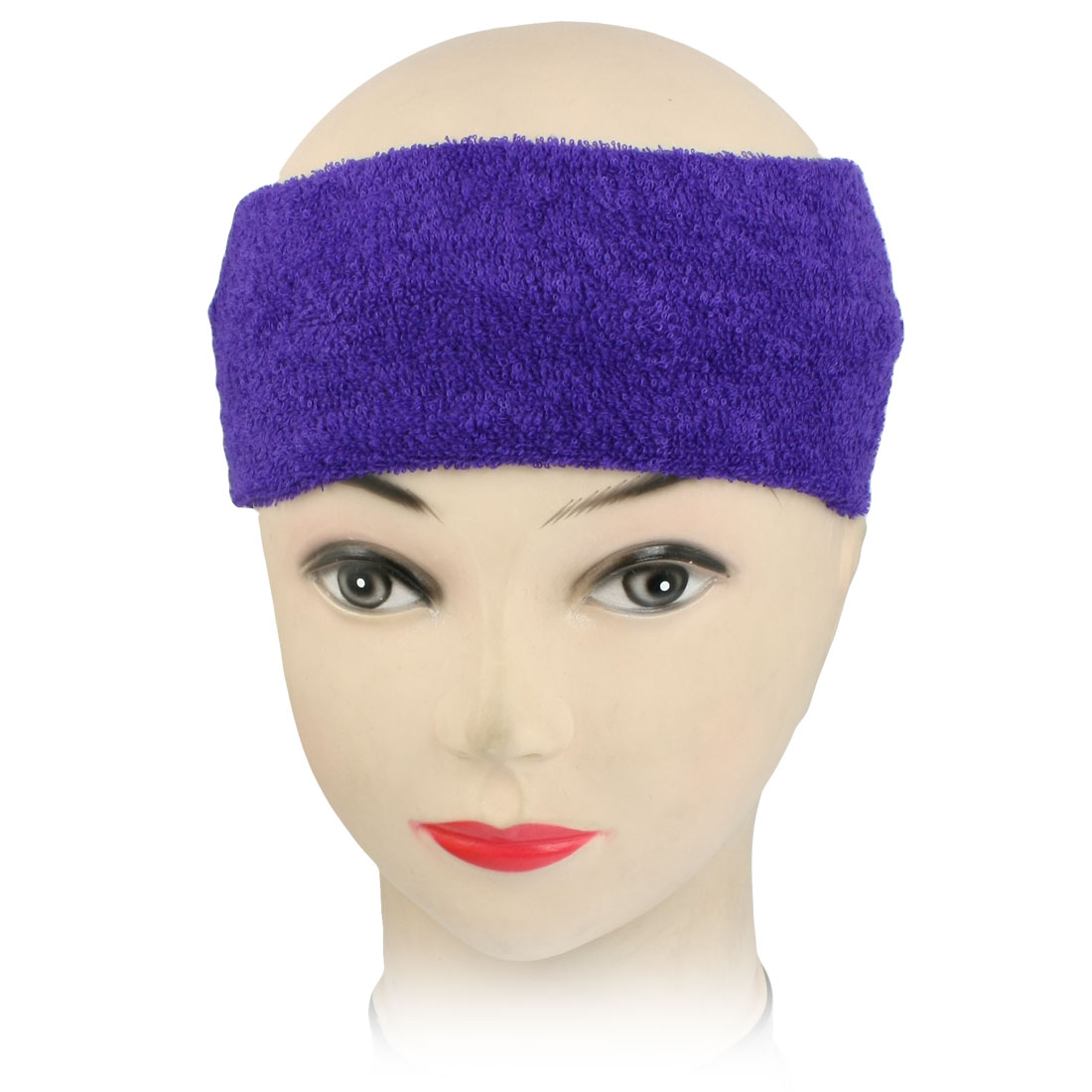 Dark Purple Gym Sports Terry Sweatband Elastic Head Band Headband
