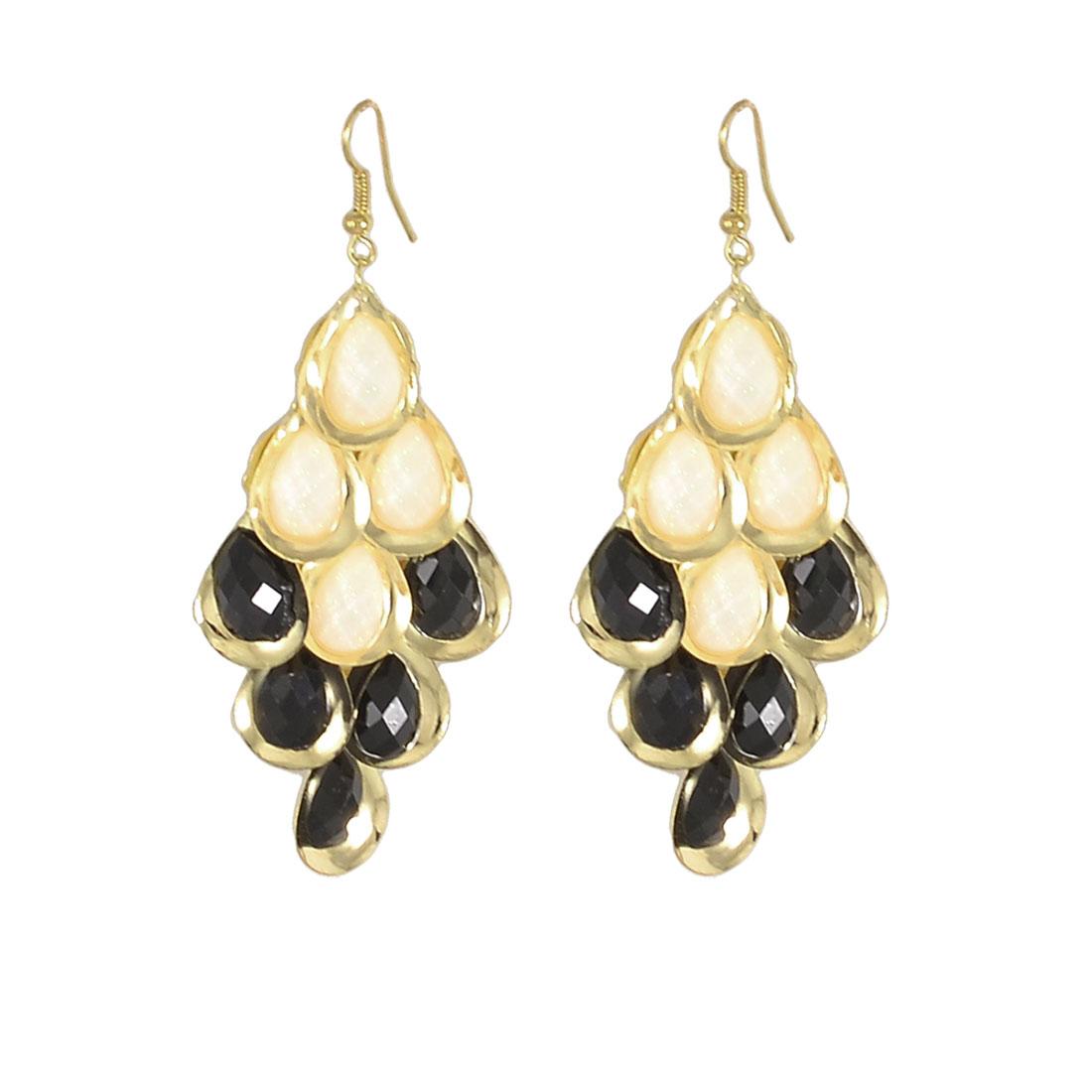 Ladies Black Crystal Accent Fish Hook Earrings Earbob Eardrop Pair