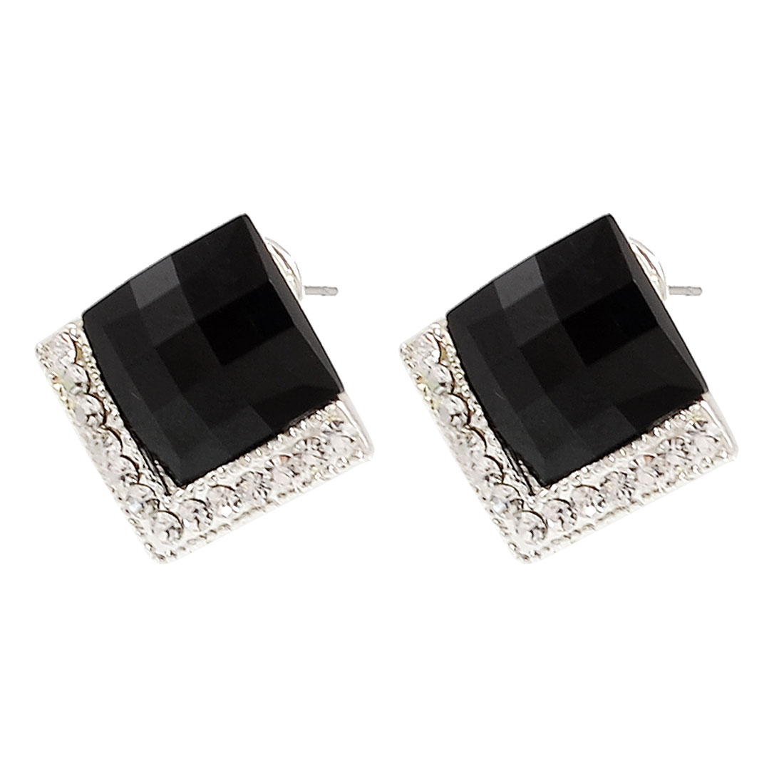 Ladies Rhinestone Accent Black Crystal Embellished Earbob Pierced Earrings Pair