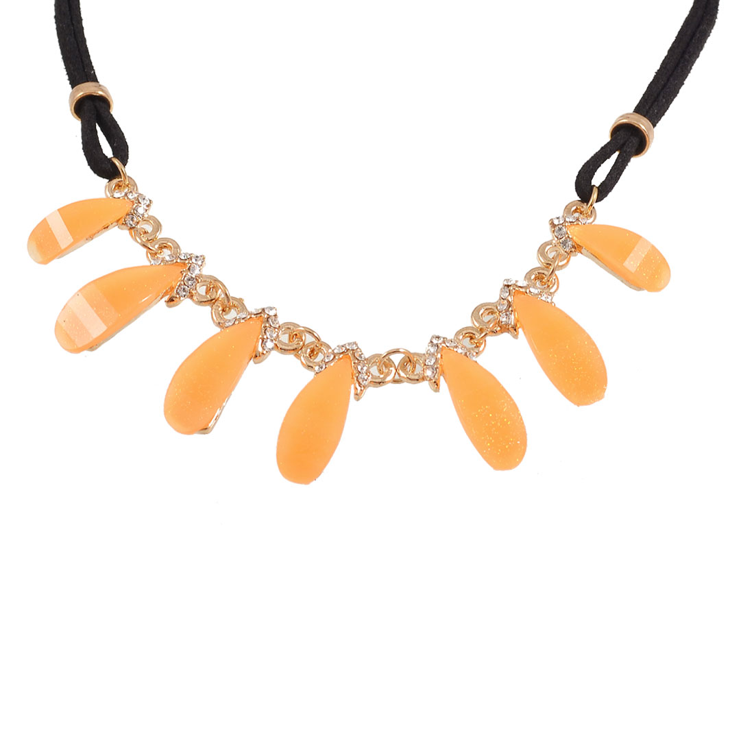 Rhinestone Decor Orange Plastic Pendant Wedding Party Necklace Gift for Lady