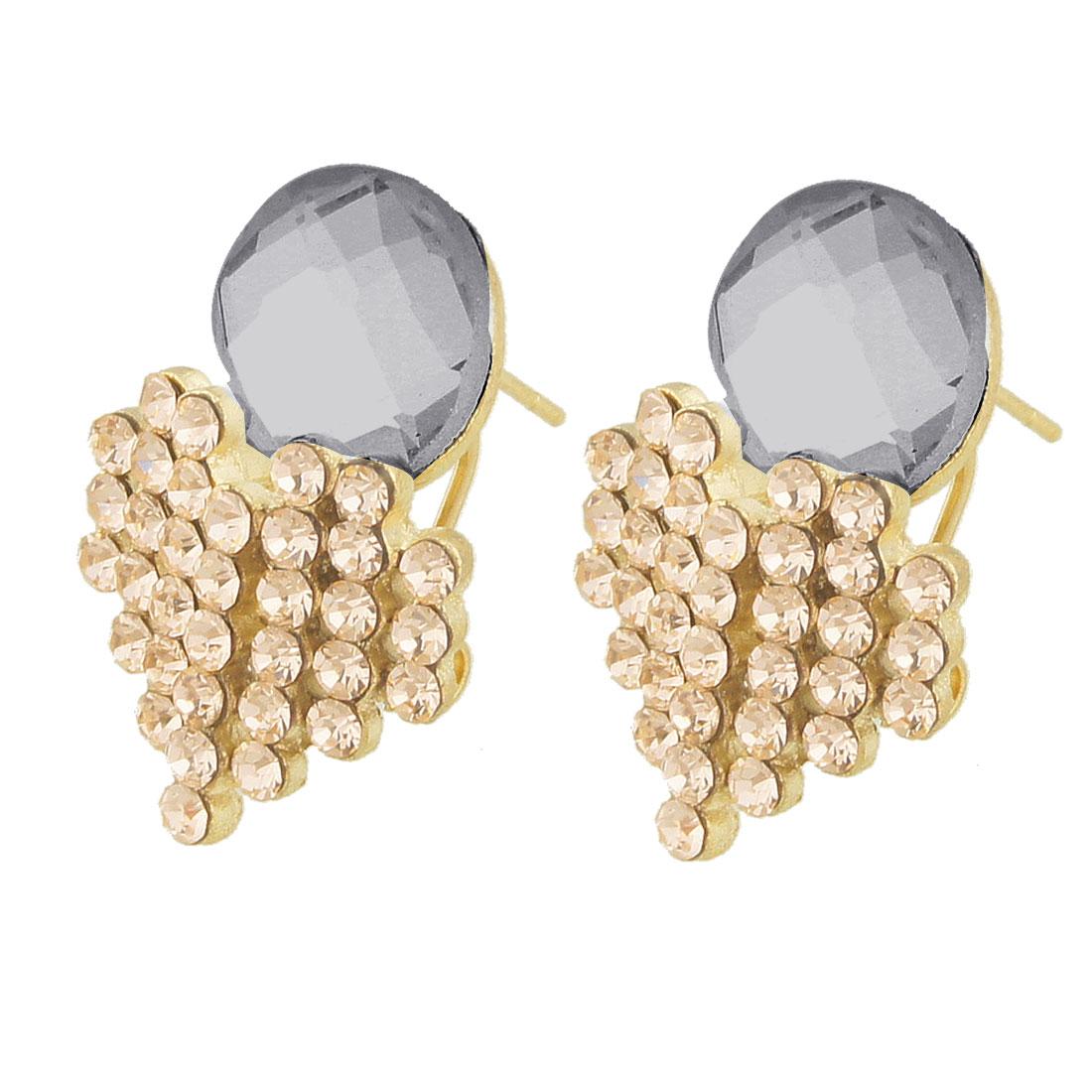 Ladies Dark Gray Crystal Decor Rhinestone Bunch Earbob Pierced Earrings Pair