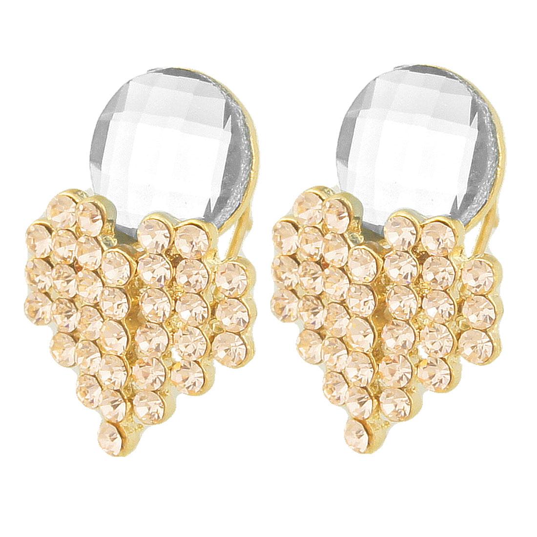 Woman Rhinestone Decor Clear Crystal Earbob Pierced Earrings Pair