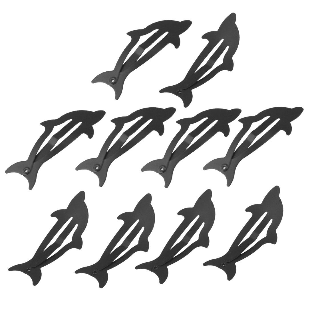 10 Pcs Women Hairstyle Black Whale Shape Metal Hair Clip Hairclip