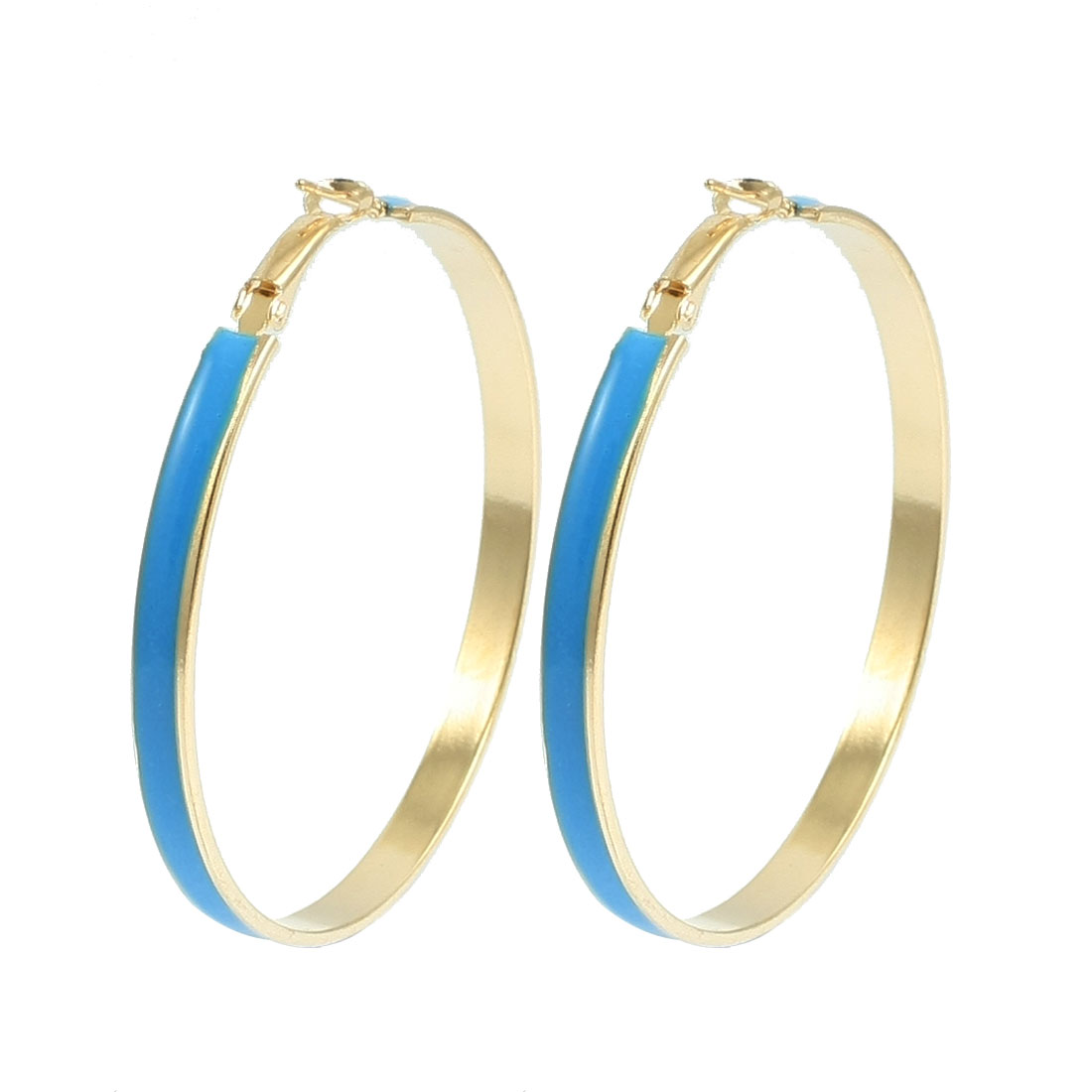 "2.4"" Dia Blue Gold Tone Metal Round Hoop Earrings Pair for Ladies"