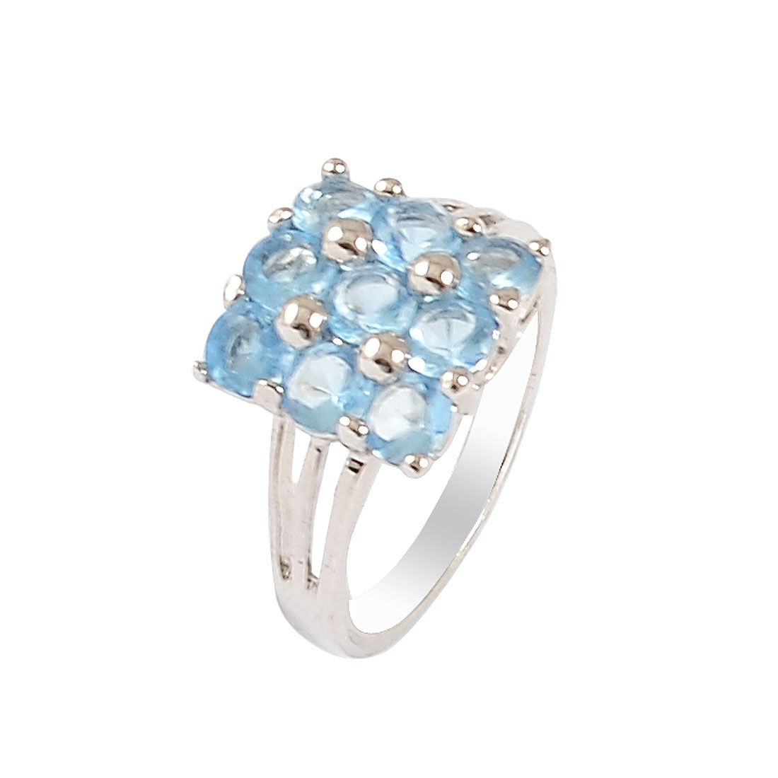 Light Blue Rhinestone Inlaid Silver Tone Finger Ring US 6 1/4 for Lady Ladies
