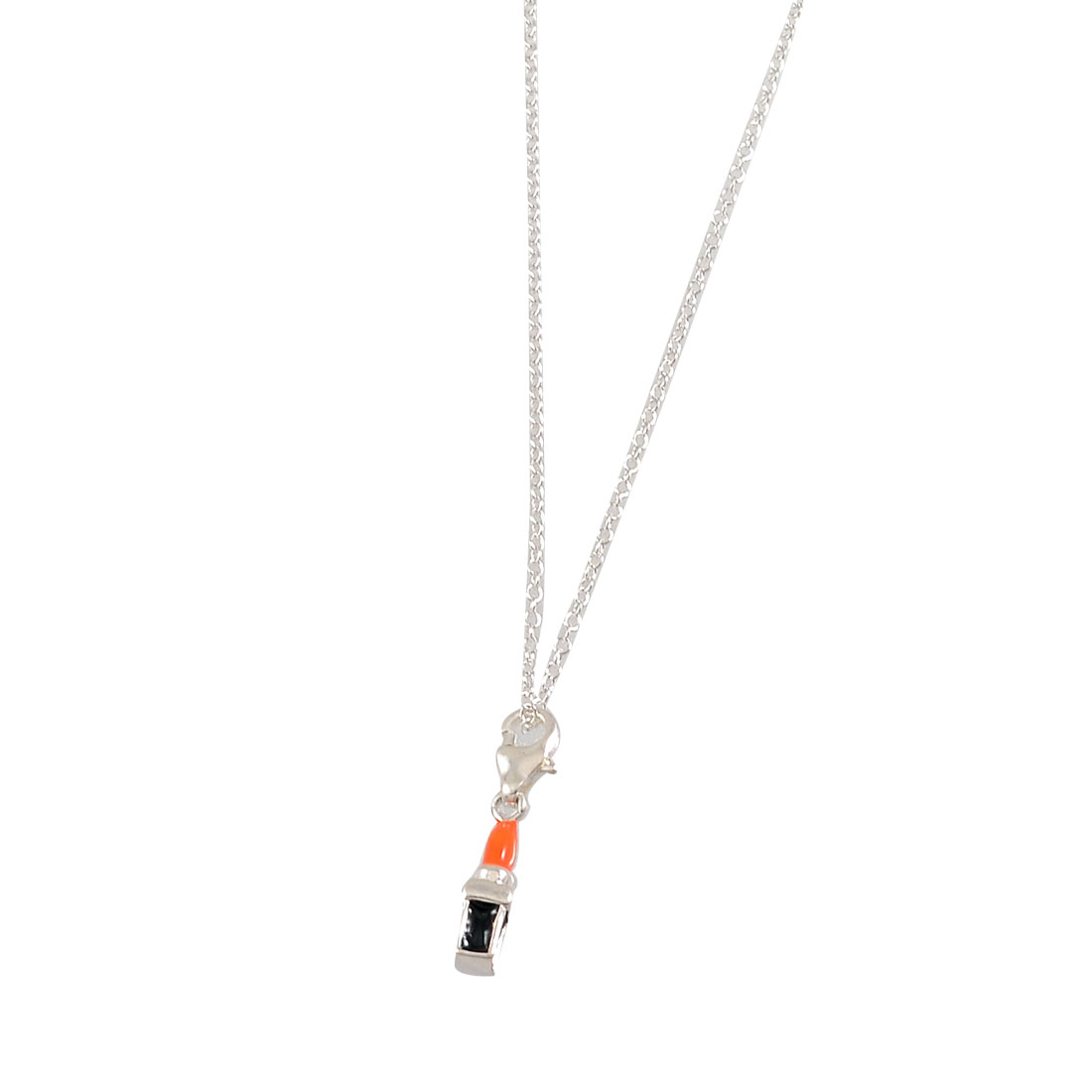 Silver Tone Metal Chain Black Orange Microphone Pendant Necklace for Girls