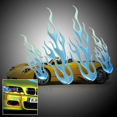 Flame Design Car Decoration Logo Badge Sticker Blue