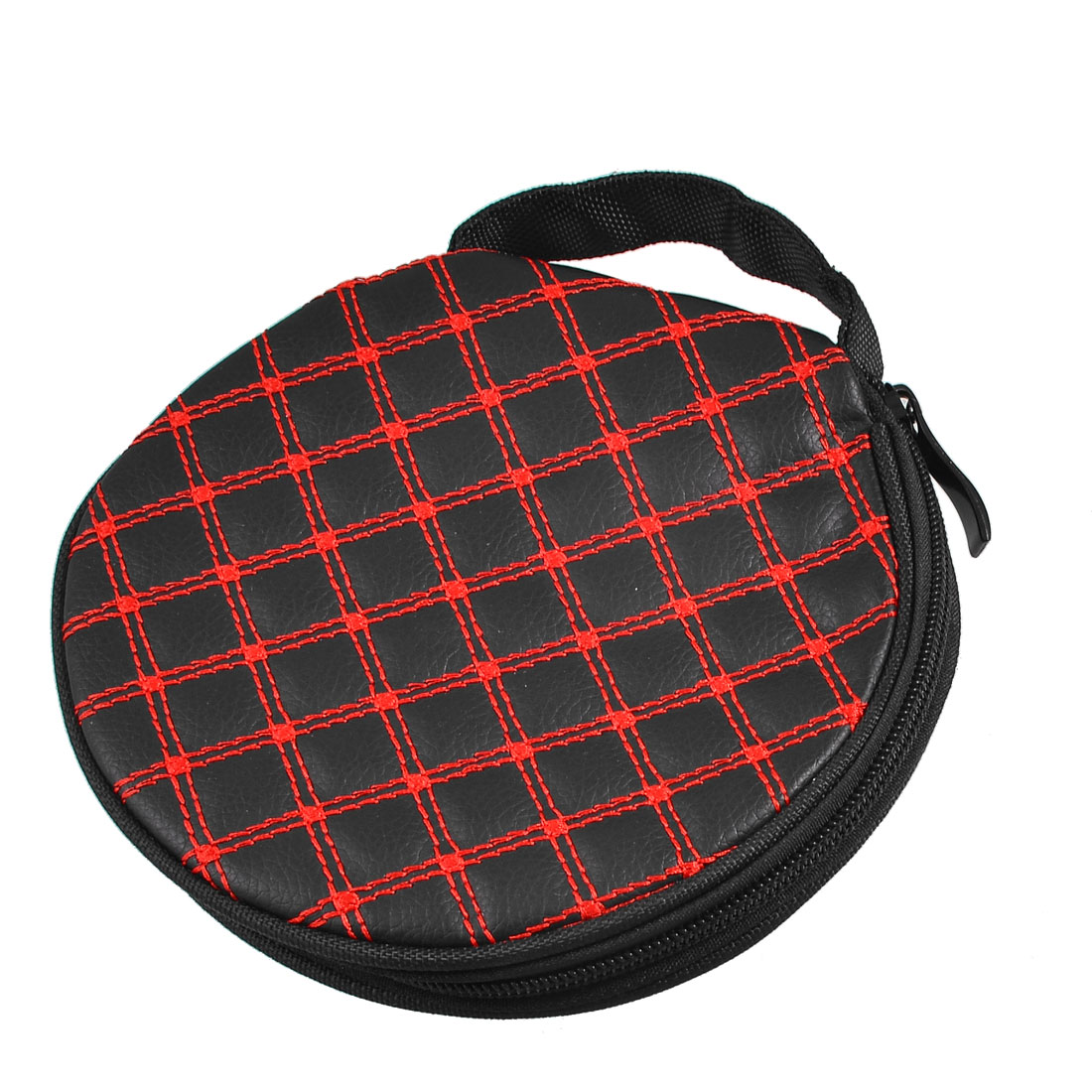 Handheld 20 CD Discs Zipper Closure Striped Holder Bag Red Black