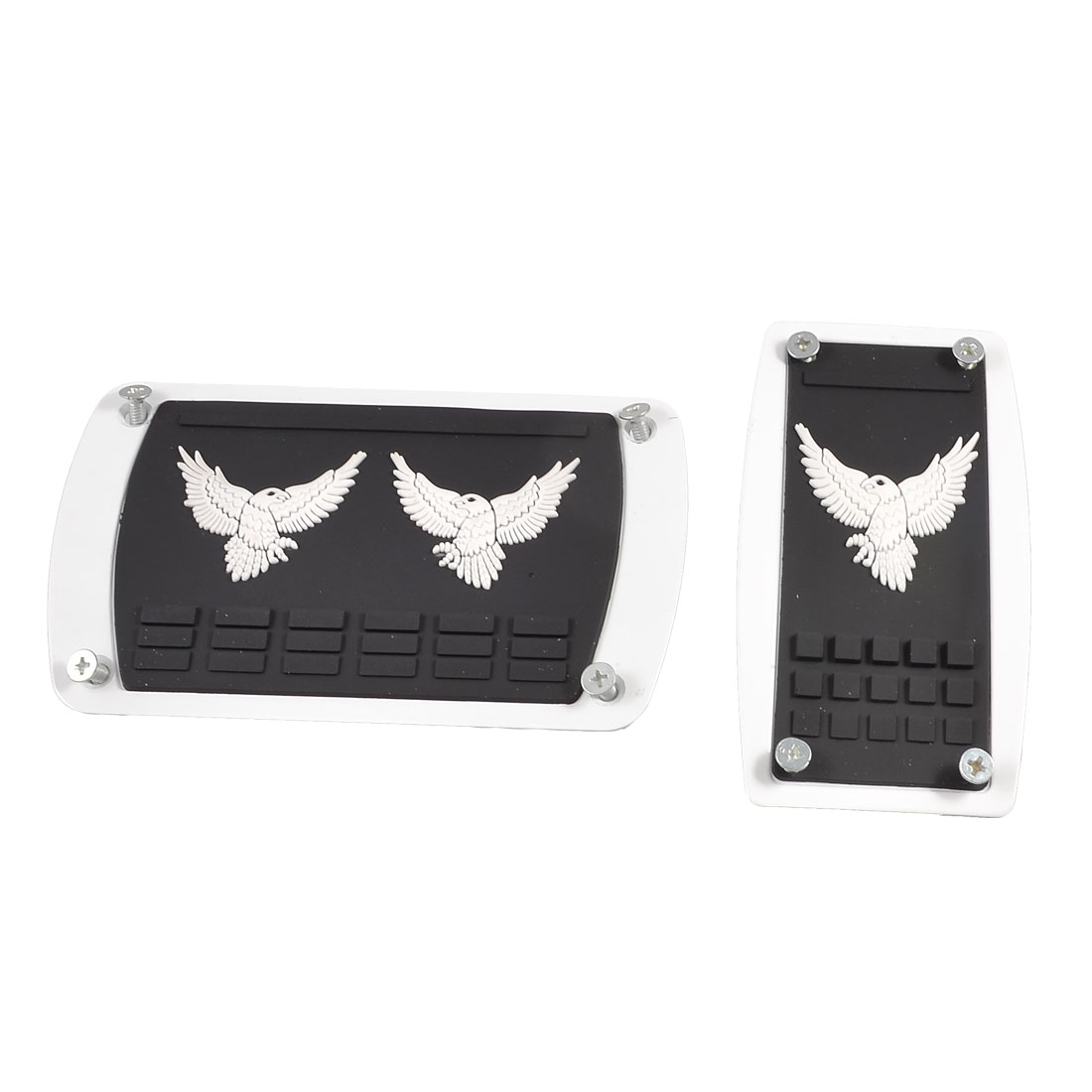 2 Pcs Textured Eagle Design Gas Break Pedal Cover Black White for Car Auto