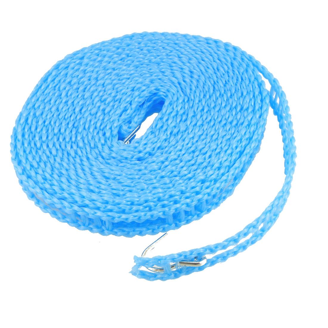 Blue Stockade Style Plastic Nonslip Laundry Line w 2 Metal Hooks