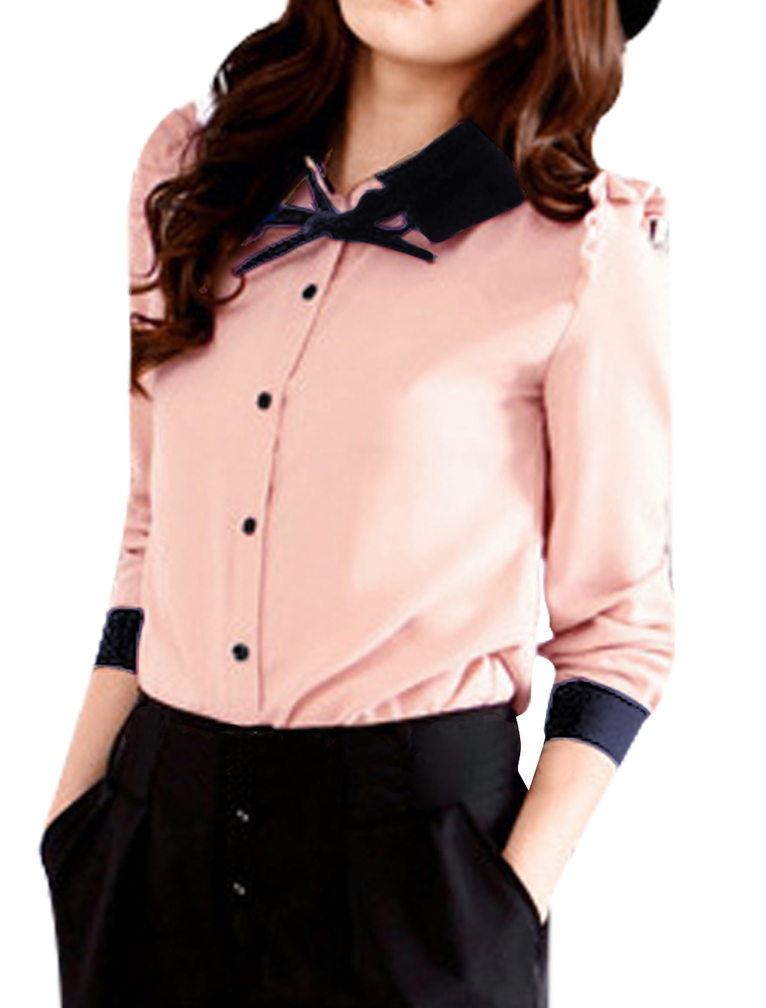 Woman Long Sleeve Self Tie Bow Button up Shirt Tops Pink M