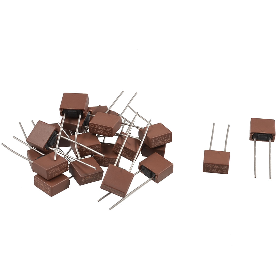 20 Pcs DIP Mounted Miniature Square Slow Blow Micro Fuse T2A 2A 250V