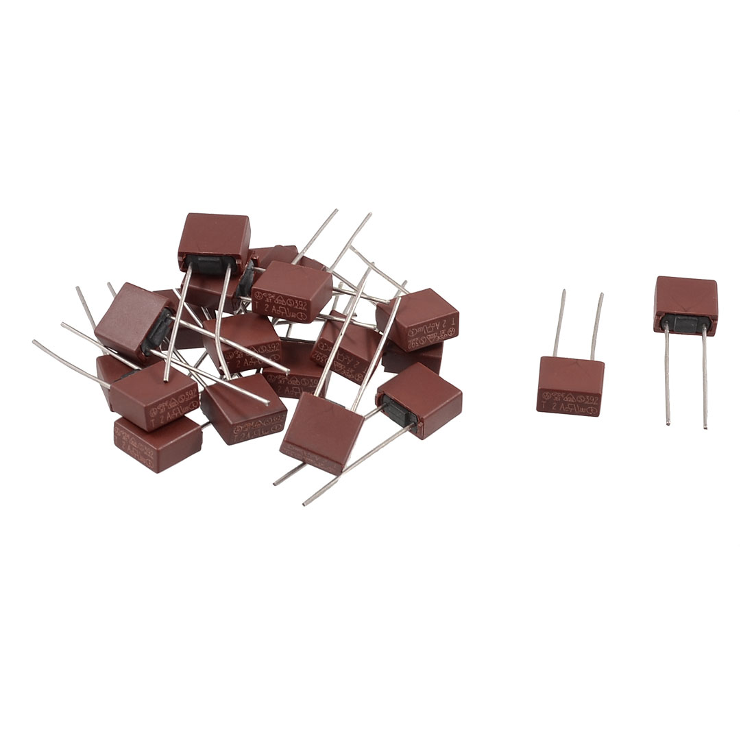 20 x Square Type Radial Leads Miniature Slow Blow Micro Fuse T500mA 250V