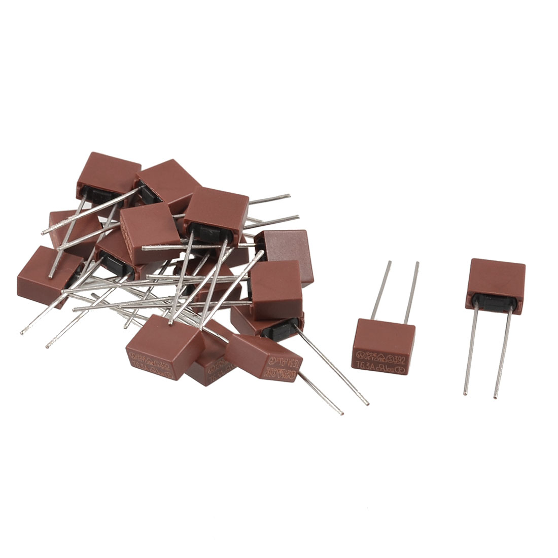 20 Pcs Square Type Radial Leads Miniature Slow Blow Micro Fuse T6.3A 250V
