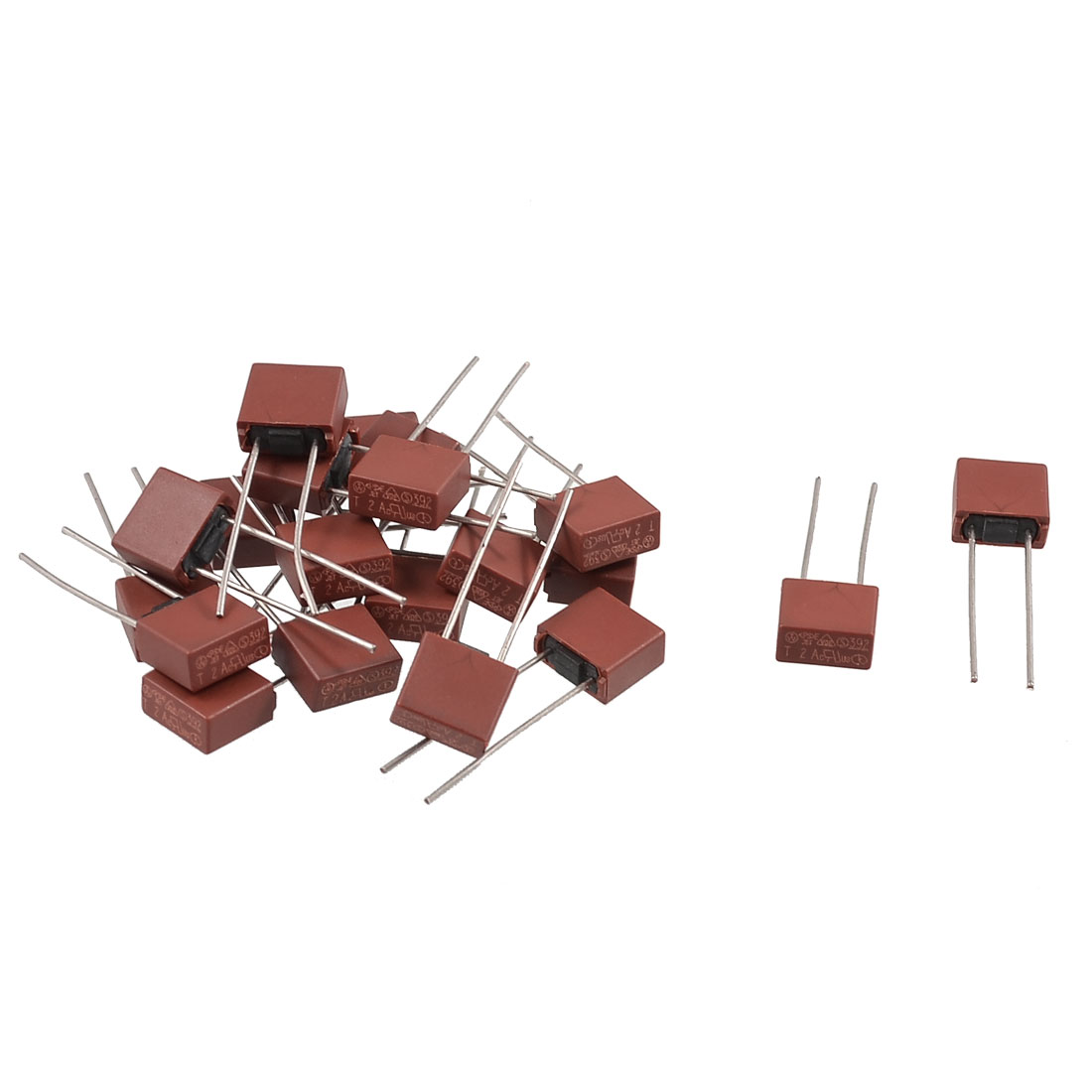 20 x Square Type Radial Leads Miniature Slow Blow Micro Fuse T5A 250V
