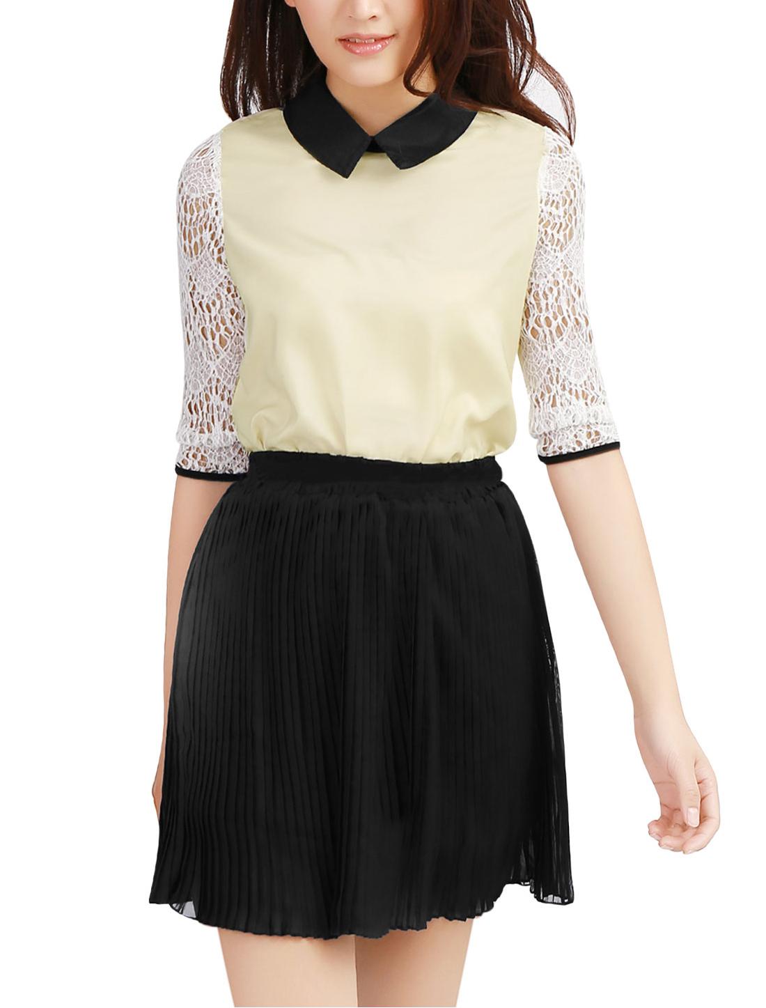 Woman 3/4 Crochet Sleeve Point Collar Semi Sheer Blouse Beige S