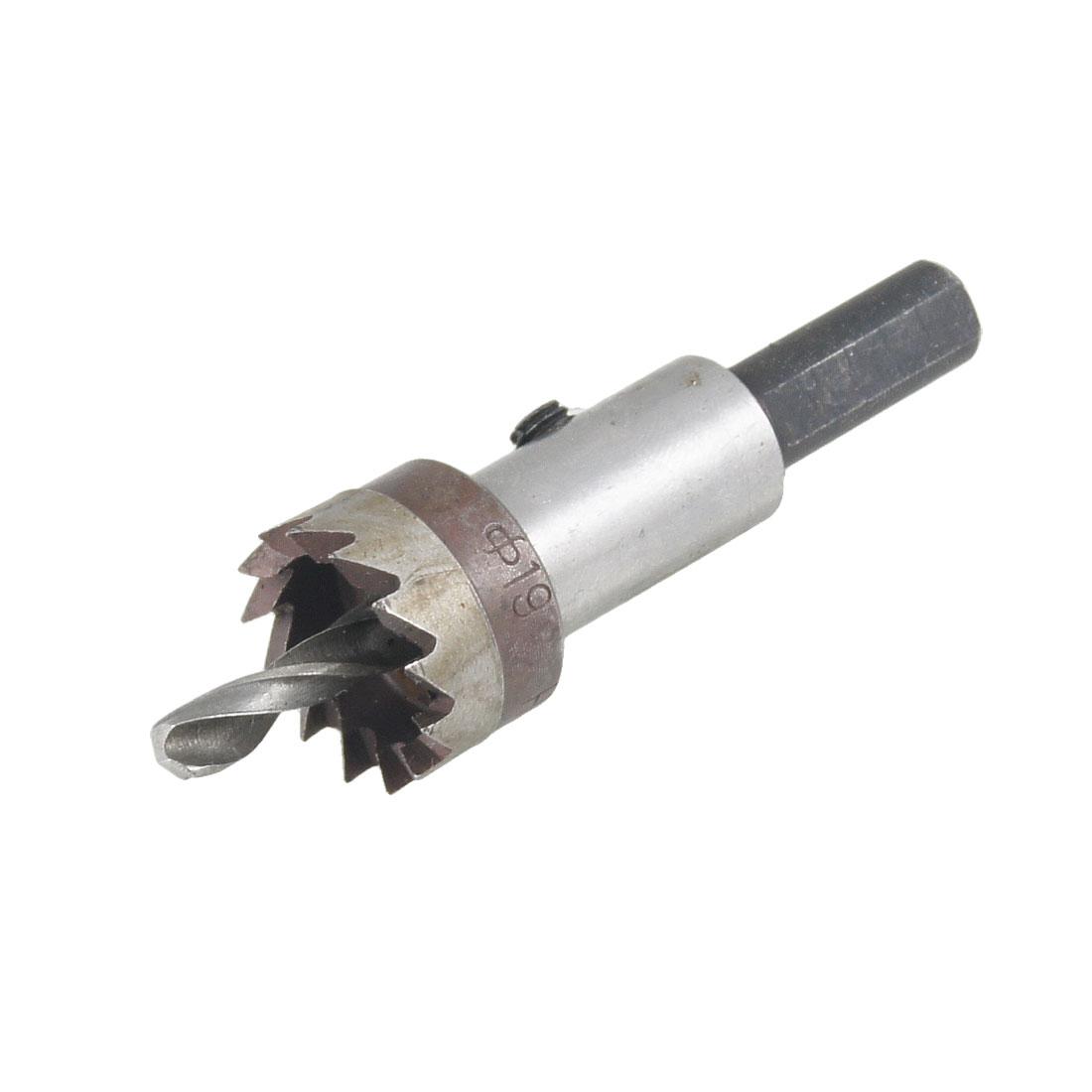 7.5mm Triangle Shank Twist Drilling Bit Iron Cutting 19mm Dia Hole Saw