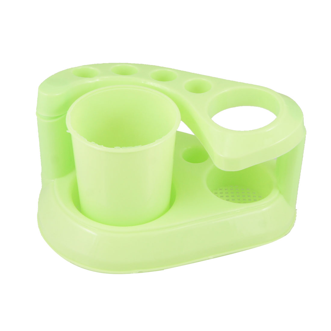 Washroom Mesh Bottom Toothbrush Holder Rack Bracket Green
