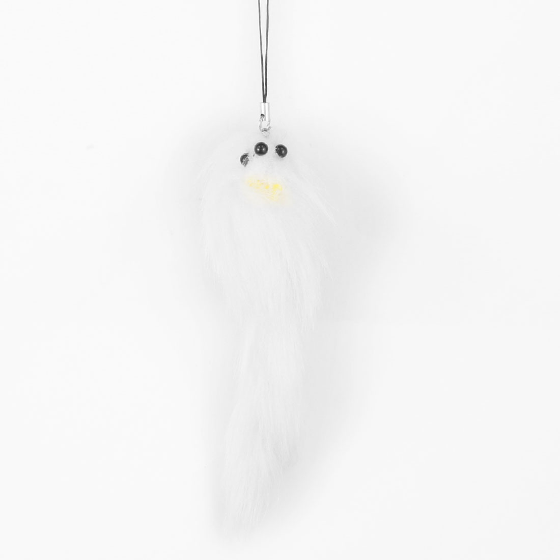 White Yellow Fox Shaped Bowtie Accent Pendant for Handbag Keyring Cell Phone