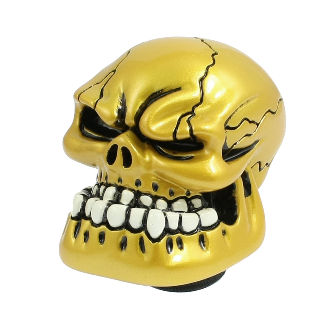 Universal Human Evil Skull Head Auto Car Manual Gear Shift Lever Knob Gold Tone