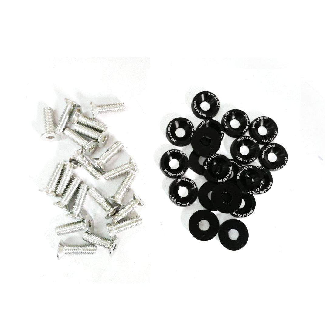 20 Pcs Silver Tone Black Car Decorative License Plate Bolt Screw