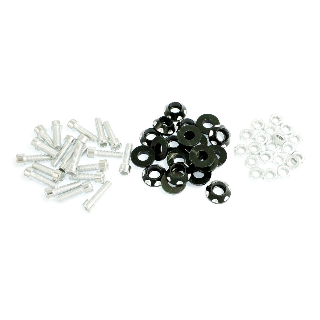 20 Pcs Silver Tone Black Alloy License Plate Bolt Screw for Car