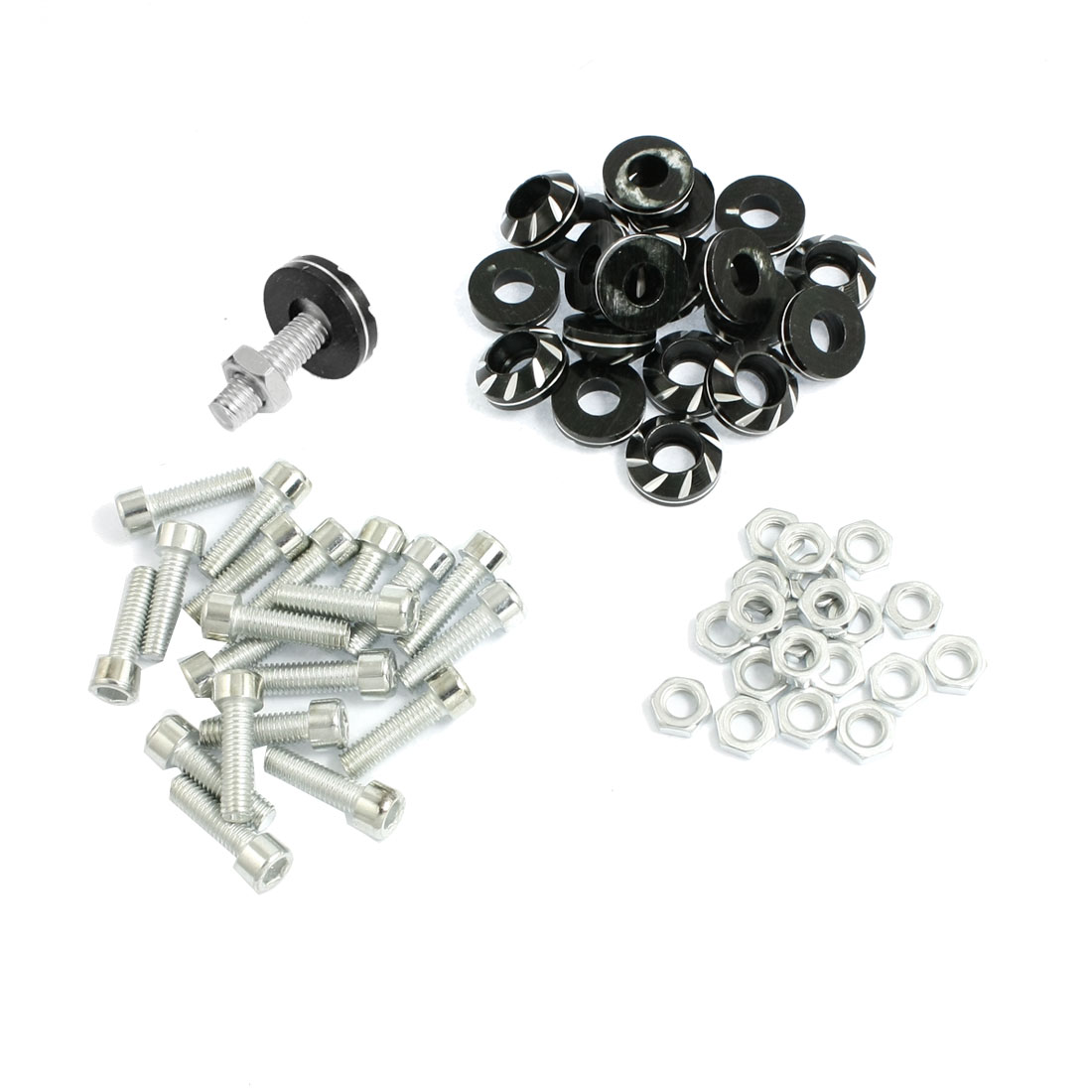 20 Pcs Silver Tone Black License Plate Bolt Screw for Car