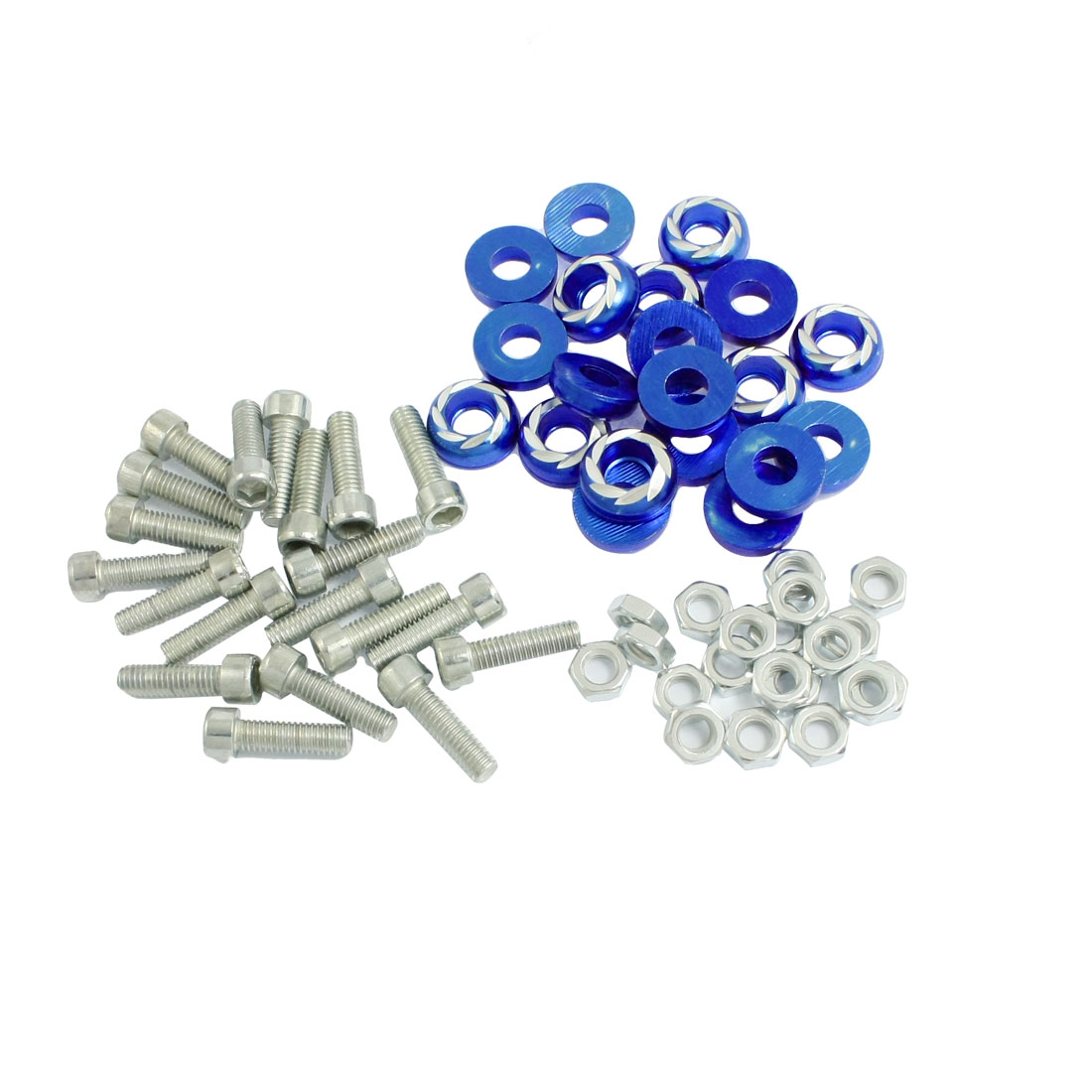 20 Pcs Silver Tone Blue Round Car License Plate Bolt Screw