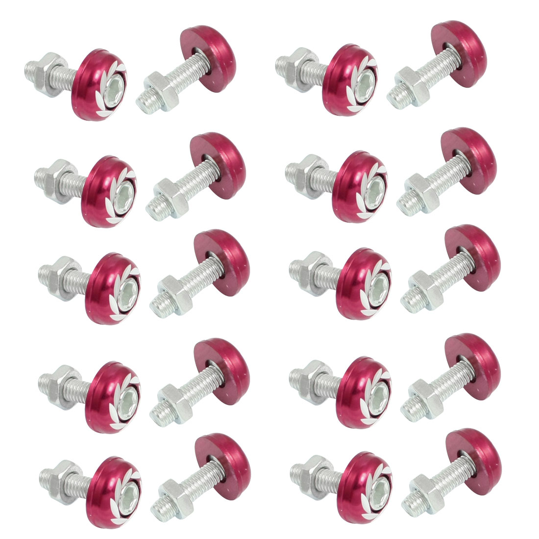 20 Pcs Silver Tone Red Round Car License Plate Bolt Screw