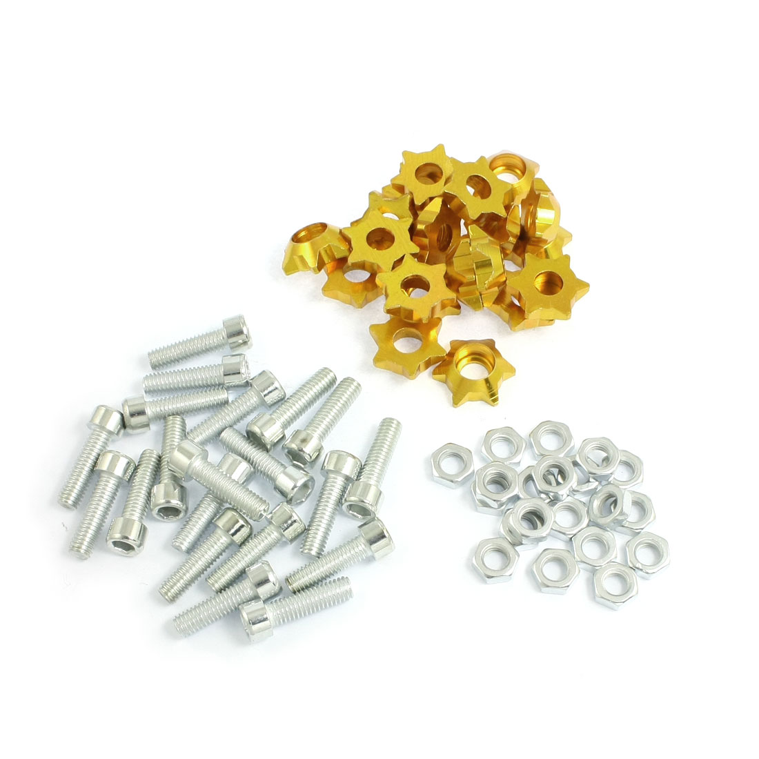 20 Pcs Two Tone Alloy Star Shape Car License Plate Bolt Screw