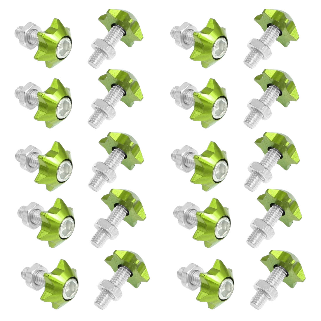20 Pcs Silver Tone Green Star Shape Car License Plate Bolt Screw