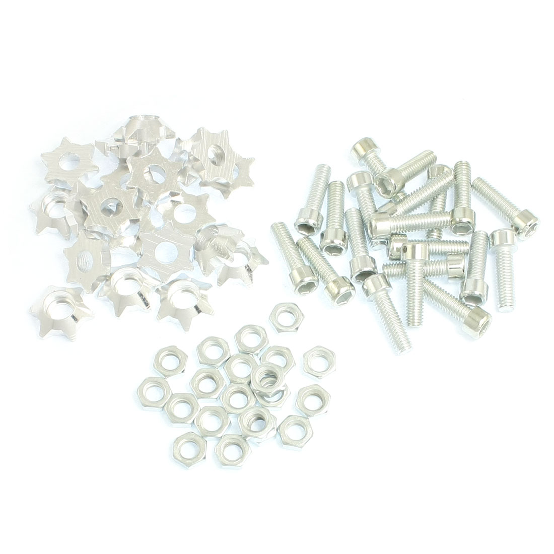 20 Pcs Silver Tone Alloy Star Shaped Car License Plate Bolt Screw