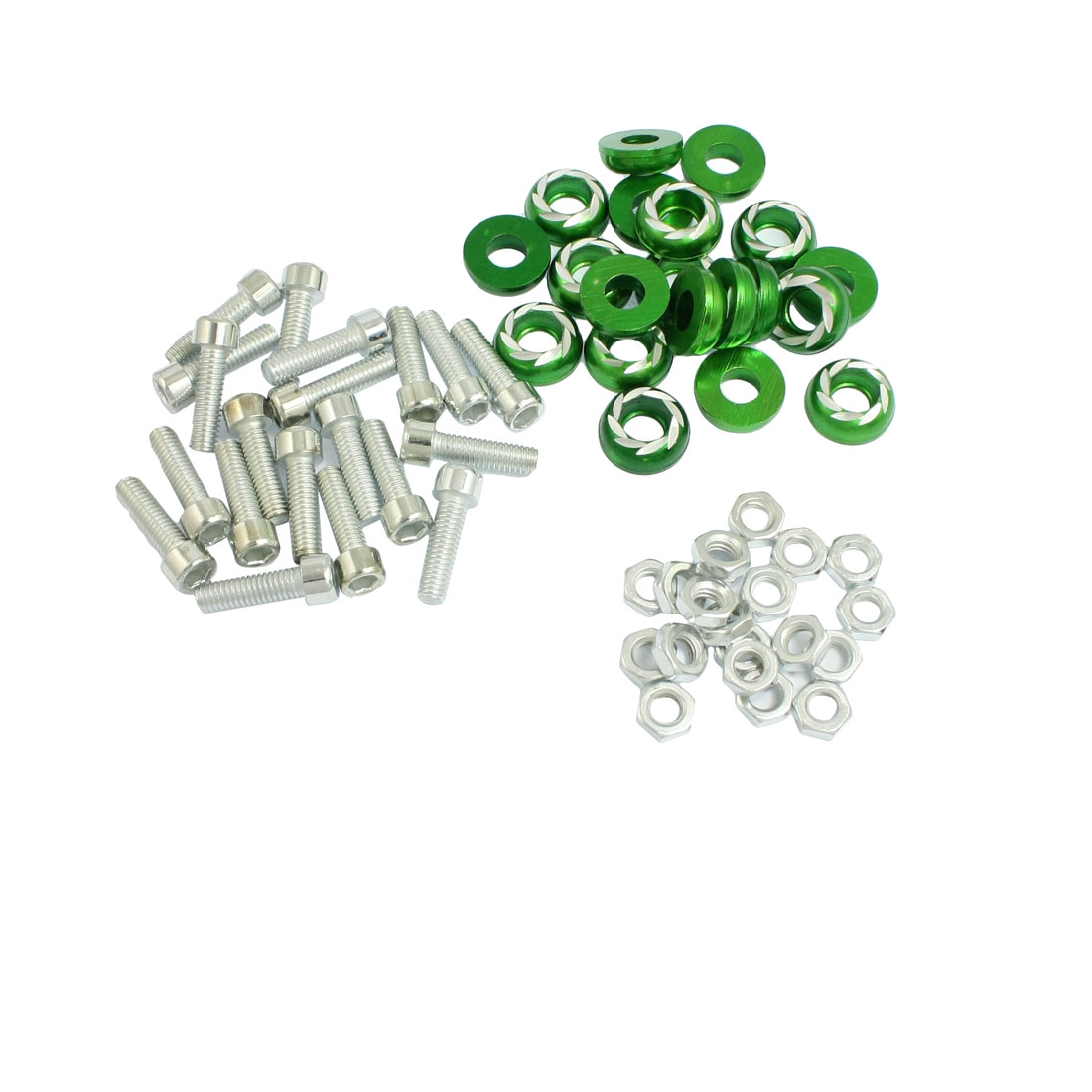 20 Pcs Silver Tone Green Round Car License Plate Bolt Screw