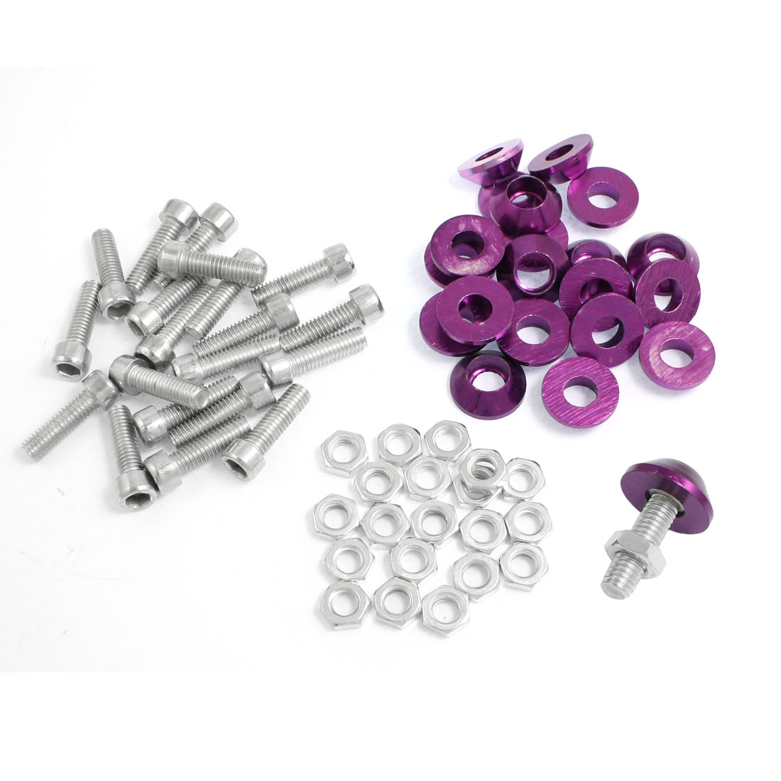 20 Pcs Silver Tone Purple Alloy Car License Plate Bolt Screw